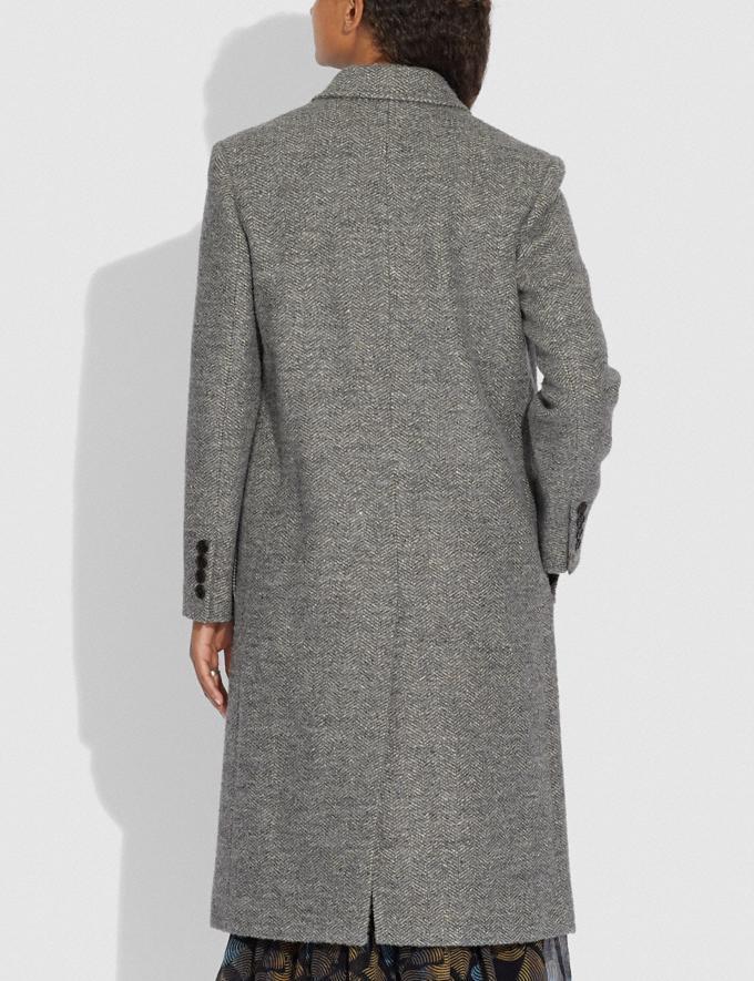 Coach Herringbone Oversized Coat Grey  Alternate View 2