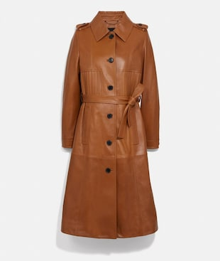 TRENCH IN PELLE A RIGHE