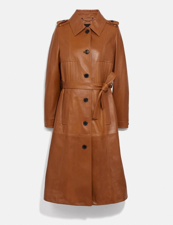 Coach Striped Leather Trench Hazel Women Ready-to-Wear Coats & Jackets