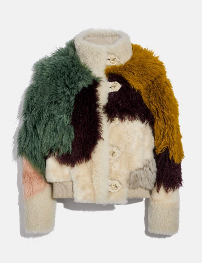 Coach Pieced Shearling Blouson Kelp Multi Women Ready-to-Wear Jackets & Outerwear