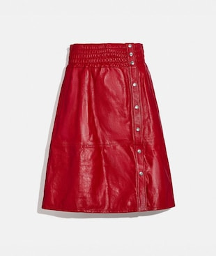 SMOCKED LEATHER SKIRT