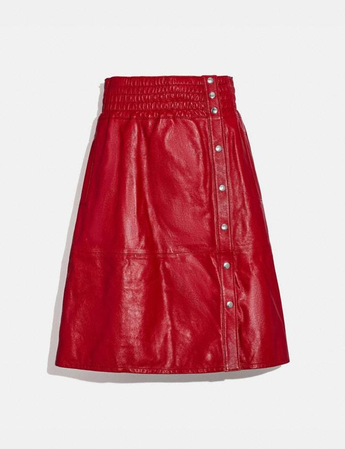 Coach Smocked Leather Skirt Scarlet DEFAULT_CATEGORY