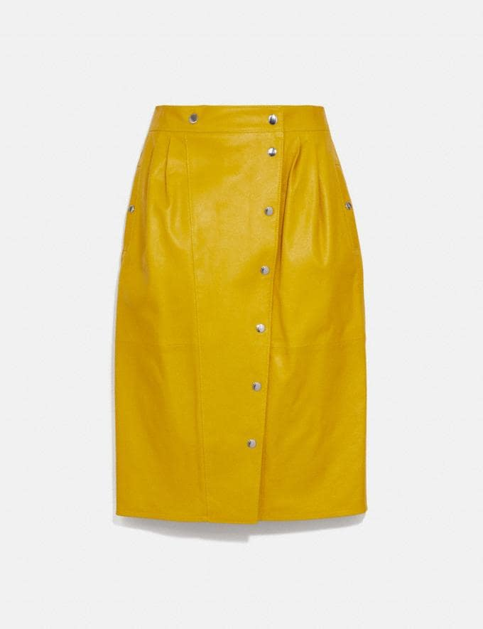 Coach Leather Snap Midi Skirt Sun Yellow DEFAULT_CATEGORY