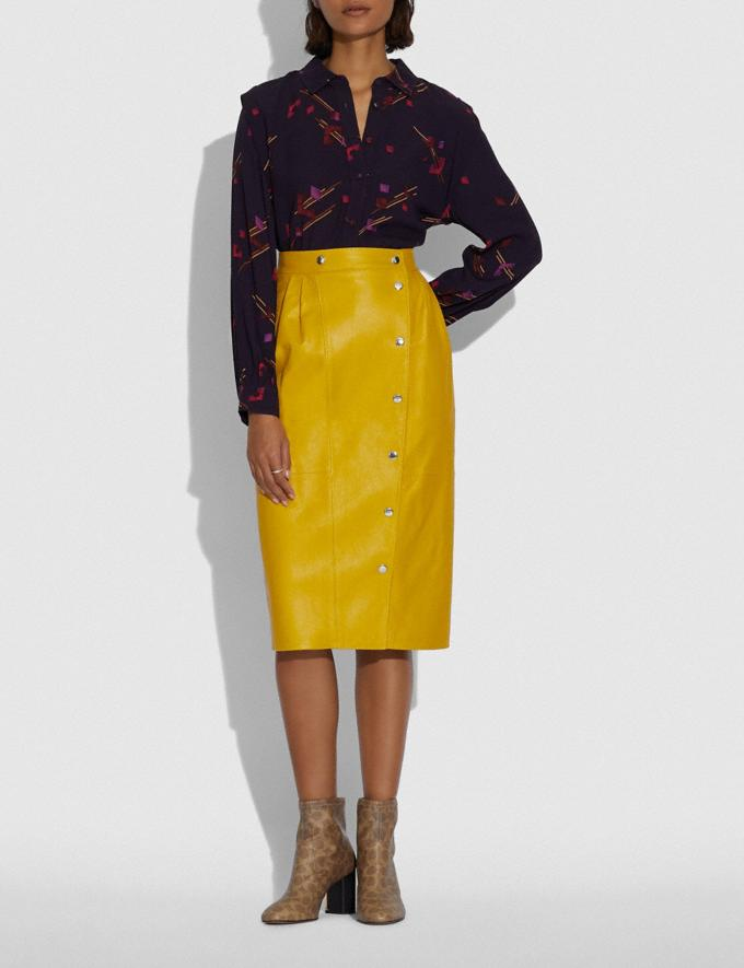 Coach Leather Snap Midi Skirt Sun Yellow DEFAULT_CATEGORY Alternate View 1
