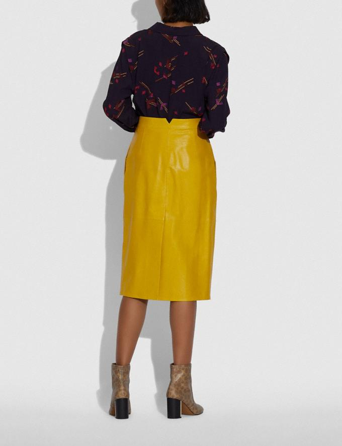 Coach Leather Snap Midi Skirt Sun Yellow DEFAULT_CATEGORY Alternate View 2
