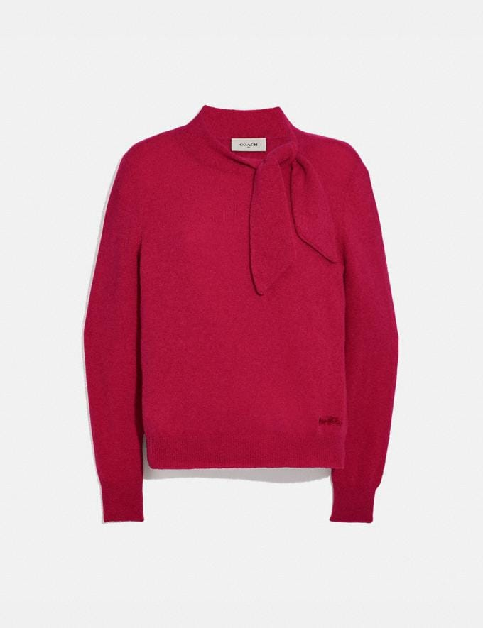 Coach Horse and Carriage Tie Neck Sweater Red Women Ready-to-Wear Tops