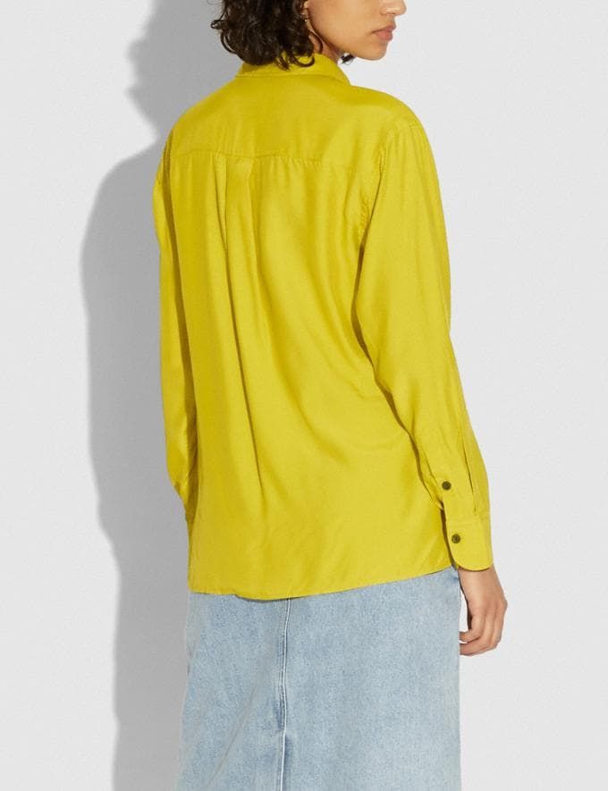 Coach Solid Shirt Limoncello Women Ready-to-Wear Tops & T-shirts Alternate View 2