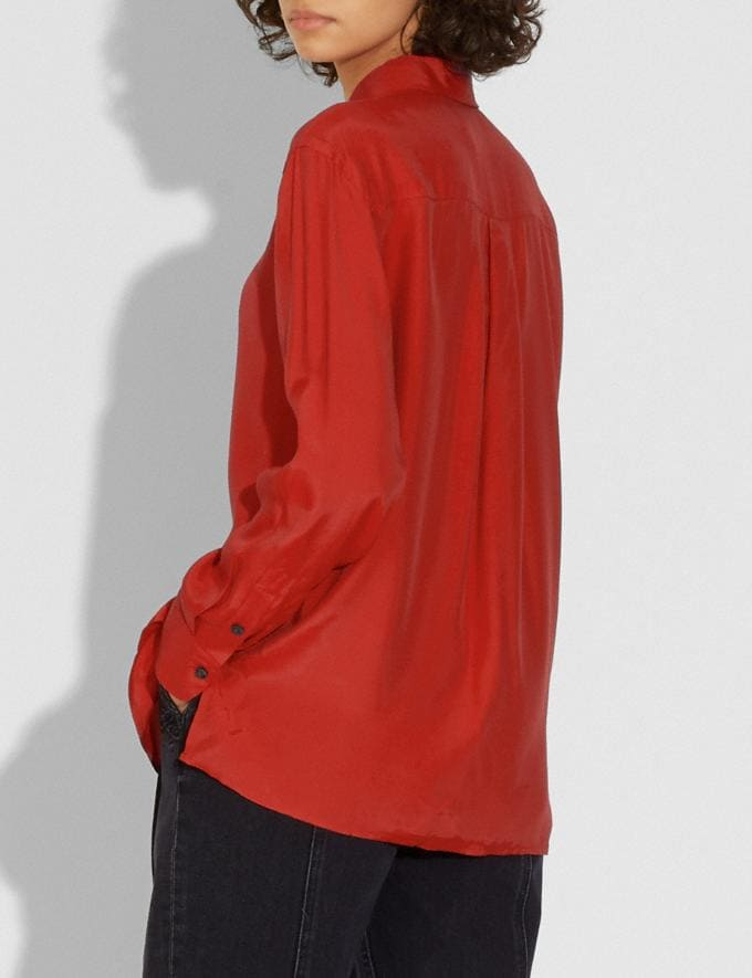 Coach Solid Shirt Red Women Ready-to-Wear Tops & T-shirts Alternate View 2