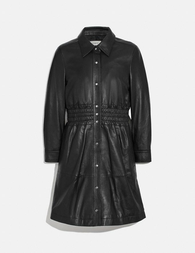 Coach Smocked Leather Dress Black Women Ready-to-Wear Dresses