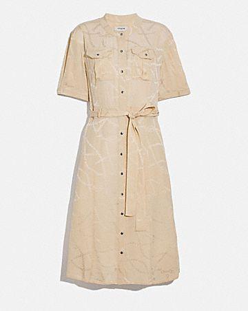 jacquard snap front dress