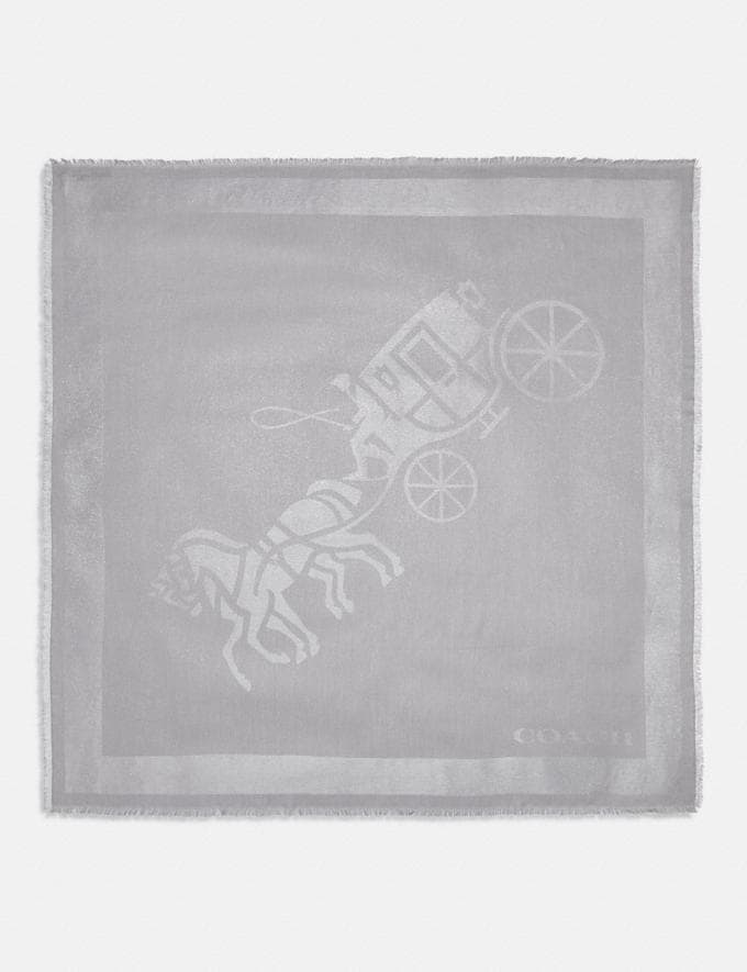 Coach Horse and Carriage Print Oversized Square Scarf Grey Women Accessories Scarves and Gloves