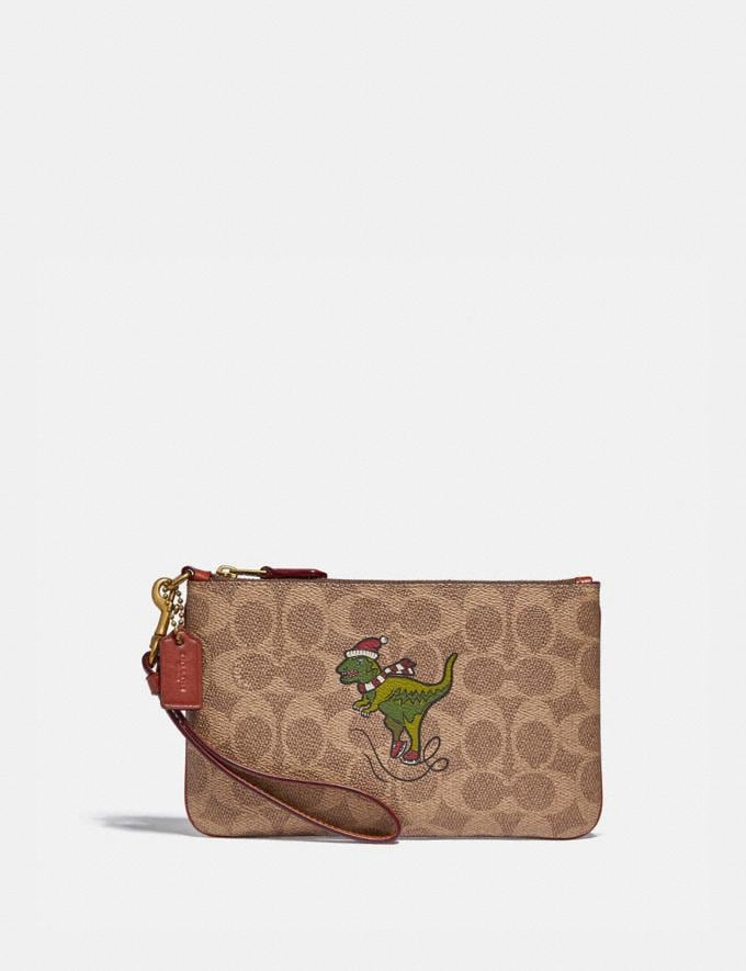 Coach Boxed Small Wristlet in Signature Canvas With Rexy B4/Tan Rust Women Small Leather Goods Wristlets