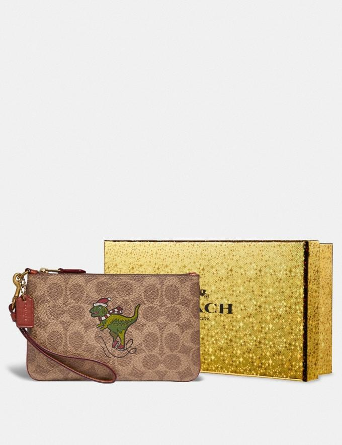 Coach Boxed Small Wristlet in Signature Canvas With Rexy B4/Tan Rust Women Small Leather Goods Wristlets Alternate View 2