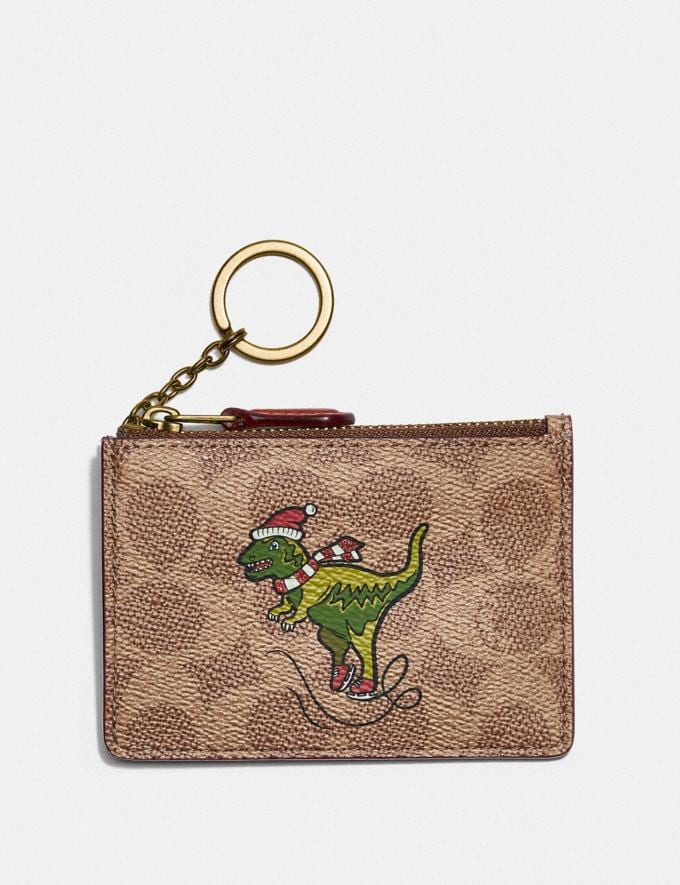 Coach Boxed Mini Skinny Id Case in Signature Canvas With Rexy B4/Tan Rust
