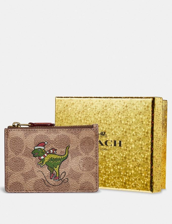 Coach Boxed Mini Skinny Id Case in Signature Canvas With Rexy B4/Tan Rust Women Small Leather Goods Small Wallets Alternate View 2