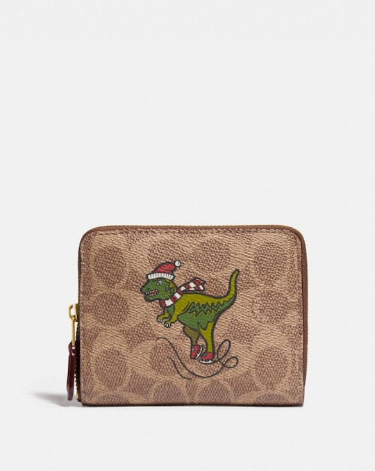 BOXED SMALL ZIP AROUND WALLET IN SIGNATURE CANVAS WITH REXY