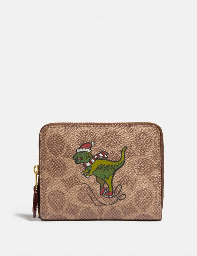 Coach Boxed Small Zip Around Wallet in Signature Canvas With Rexy B4/Tan Rust Women Small Leather Goods Small Wallets
