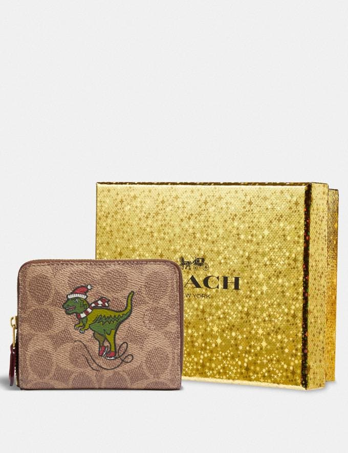 Coach Boxed Small Zip Around Wallet in Signature Canvas With Rexy B4/Tan Rust Women Small Leather Goods Small Wallets Alternate View 2