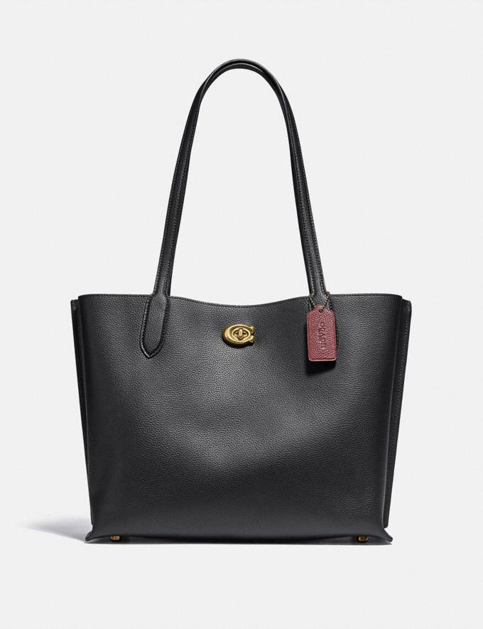 Coach Willow Tote Brass/Black Women Bags Totes