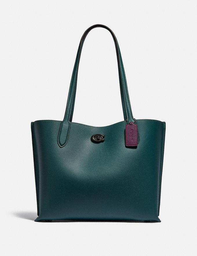 Coach Willow Tote With Signature Canvas Interior Pewter/Forest New Women's New Arrivals Bags