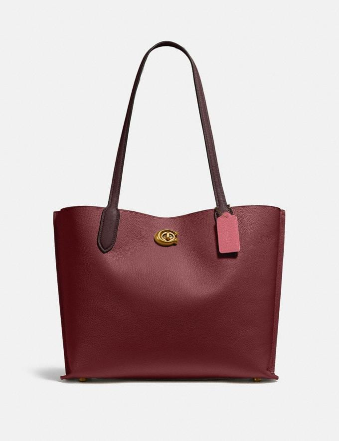 Coach Willow Tote in Colorblock Brass/Black Cherry Multi New Women's New Arrivals Bags