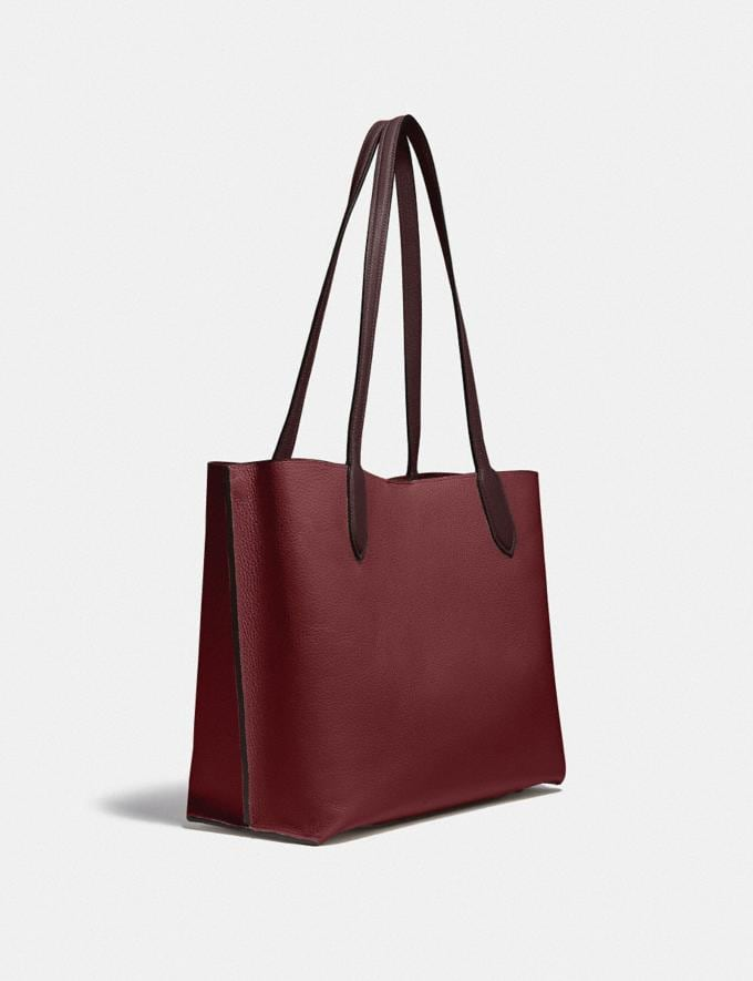 Coach Willow Tote in Colorblock Brass/Black Cherry Multi  Alternate View 1