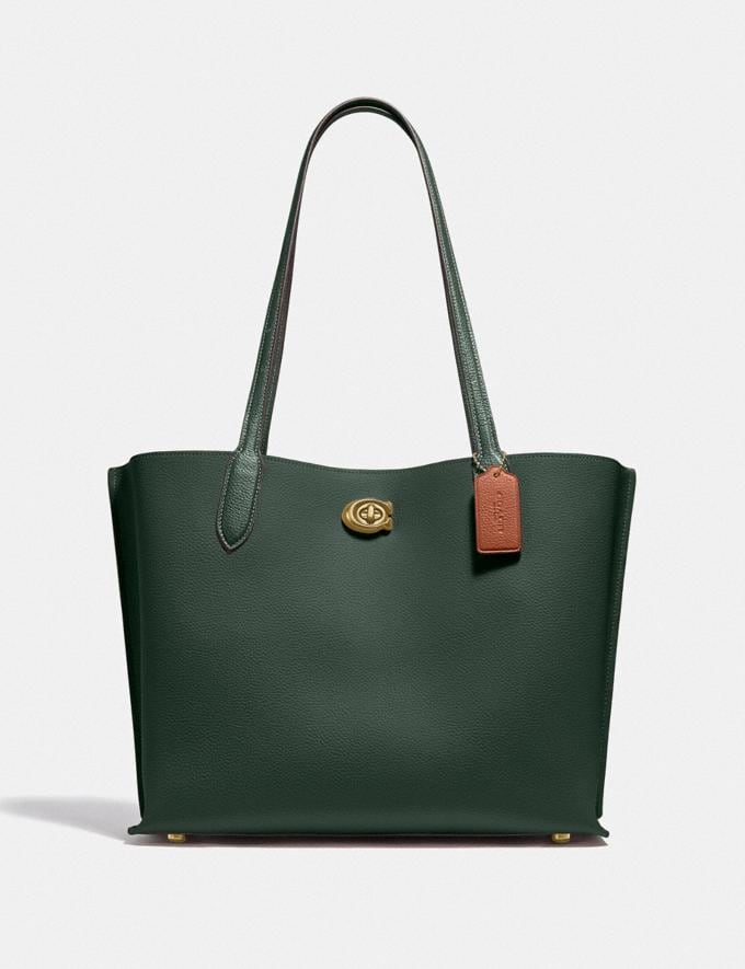Coach Willow Tote in Colorblock With Signature Canvas Interior Brass/Amazon Green Multi DEFAULT_CATEGORY
