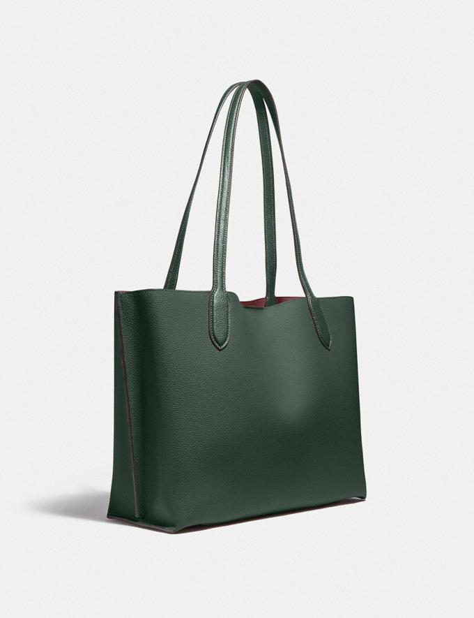 Coach Willow Tote in Colorblock With Signature Canvas Interior Brass/Amazon Green Multi DEFAULT_CATEGORY Alternate View 1