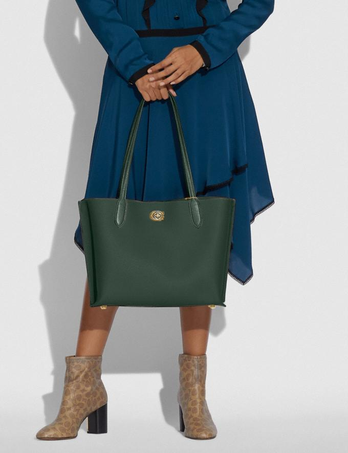 Coach Willow Tote in Colorblock With Signature Canvas Interior Brass/Amazon Green Multi DEFAULT_CATEGORY Alternate View 4