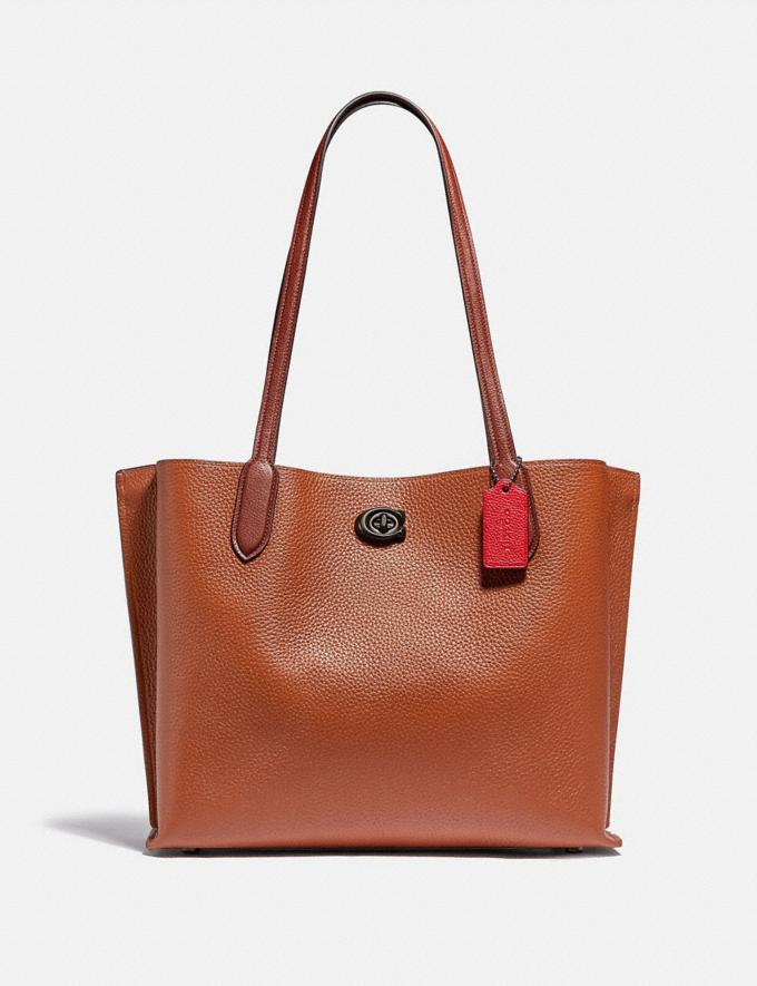 Coach Willow Tote in Colorblock With Signature Canvas Interior Pewter/1941 Saddle Multi Women Bags Totes