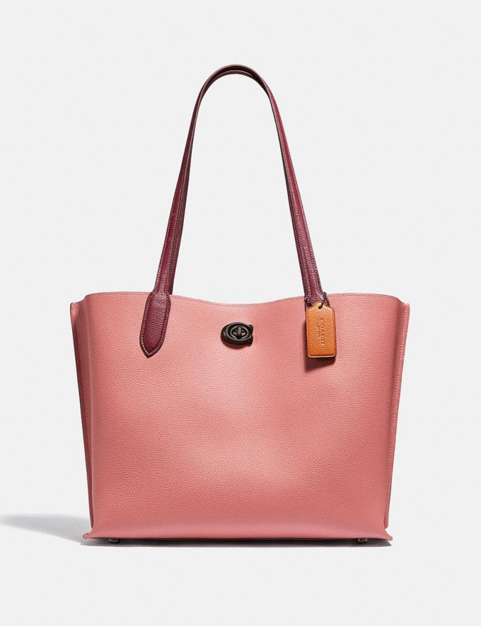 Coach Willow Tote in Colorblock With Signature Canvas Interior Pewter/Vintage Pink Multi New Women's New Arrivals Bags