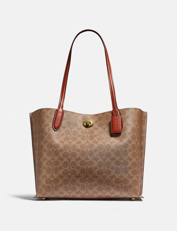 Coach Willow Tote in Signature Canvas Brass/Tan Rust New Women's New Arrivals Bags