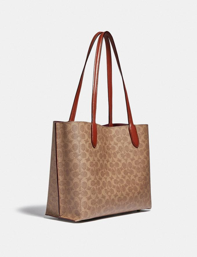 Coach Willow Tote in Signature Canvas Brass/Tan Rust New Women's New Arrivals Bags Alternate View 1