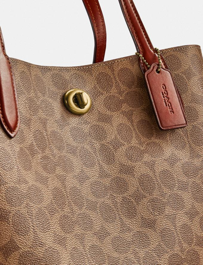 Coach Willow Tote in Signature Canvas Brass/Tan Rust New Women's New Arrivals Bags Alternate View 5
