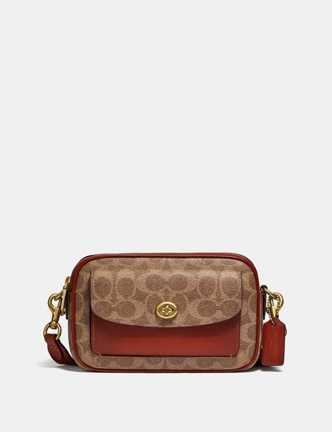 Coach Willow Camera Bag in Signature Canvas Brass/Tan Rust null