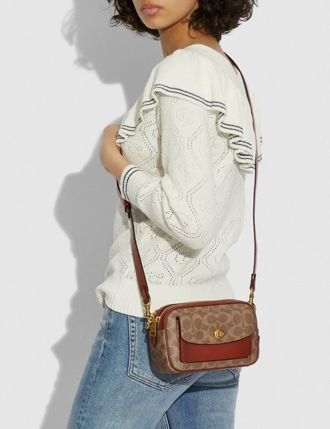 Coach Willow Camera Bag in Signature Canvas Brass/Tan Rust null Alternate View 4