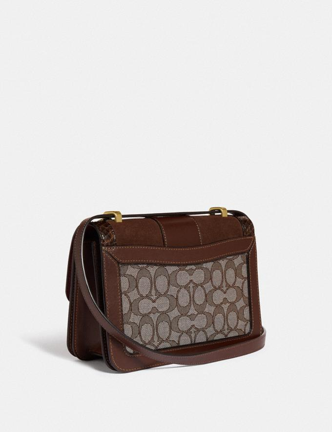 Coach Alie Shoulder Bag in Signature Jacquard With Snakeskin Detail B4/Oak Maple Women Bags Shoulder Bags Alternate View 1