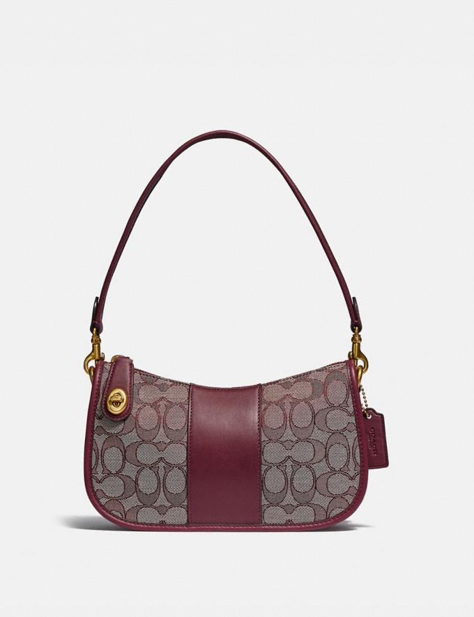 Coach Swinger Bag in Signature Jacquard B4/Burgundy Blk Cherry