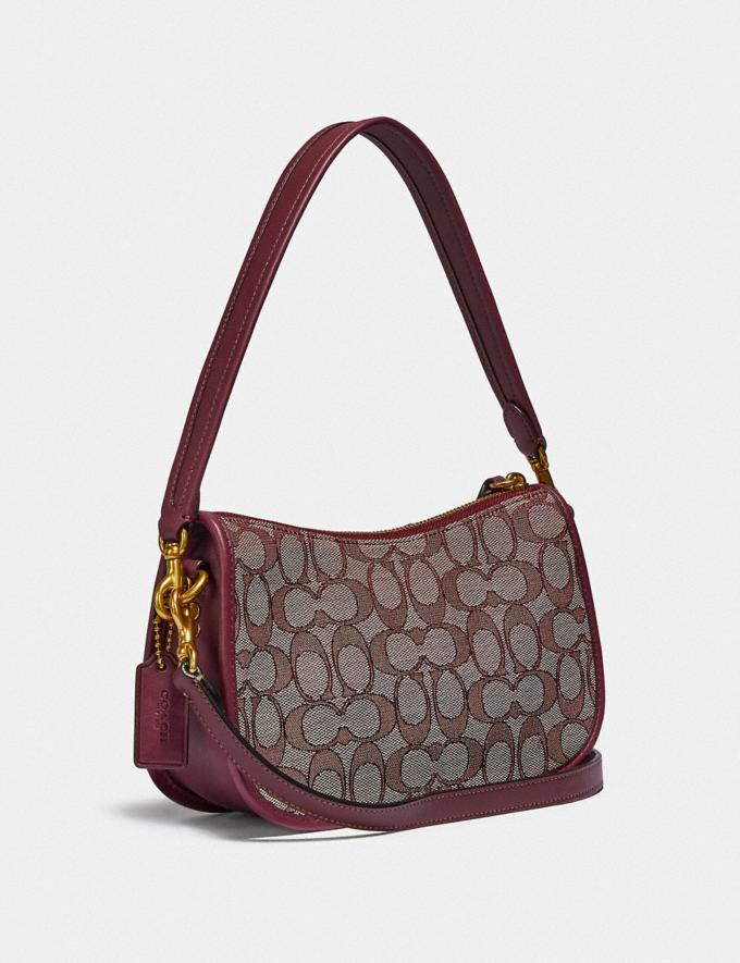 Coach Swinger Bag in Signature Jacquard B4/Burgundy Blk Cherry  Alternate View 1