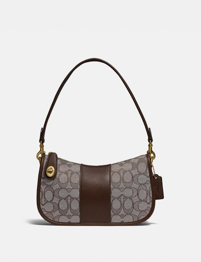 Coach Swinger Bag in Signature Jacquard Brass/Oak Maple