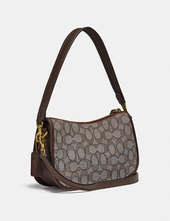 Coach Swinger Tasche Mit Charakteristischem Jacquard Messing/Eiche Ahorn  Alternative Ansicht 1