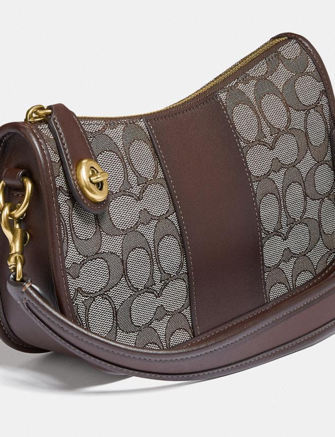 Coach Swinger Bag in Signature Jacquard Brass/Oak Maple  Alternate View 4