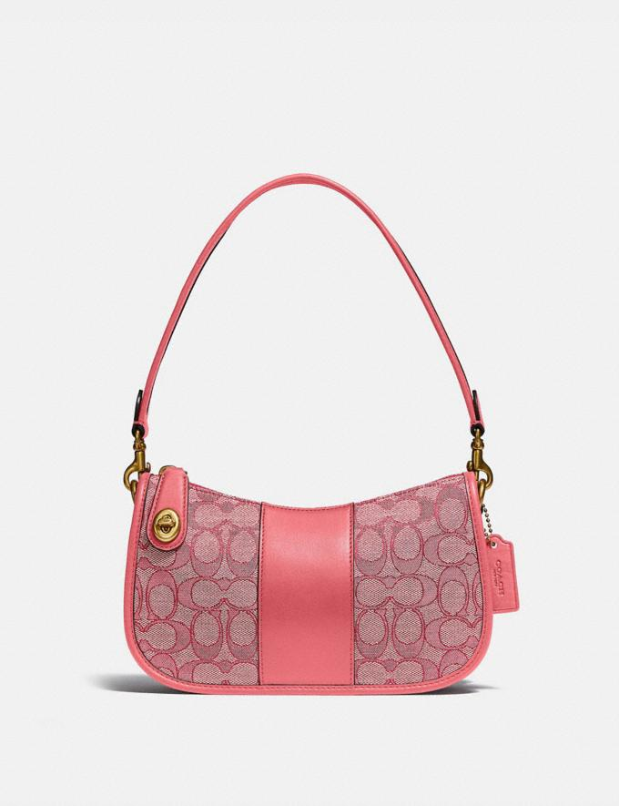 Coach Swinger Bag in Signature Jacquard Brass/Taffy Taffy