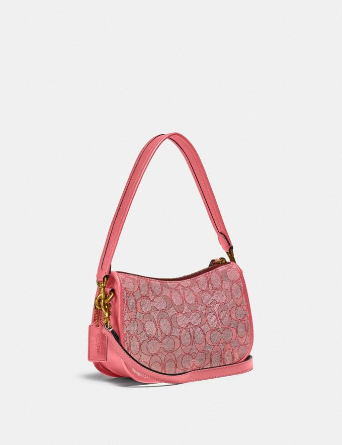 Coach Swinger Bag in Signature Jacquard Brass/Taffy Taffy  Alternate View 1