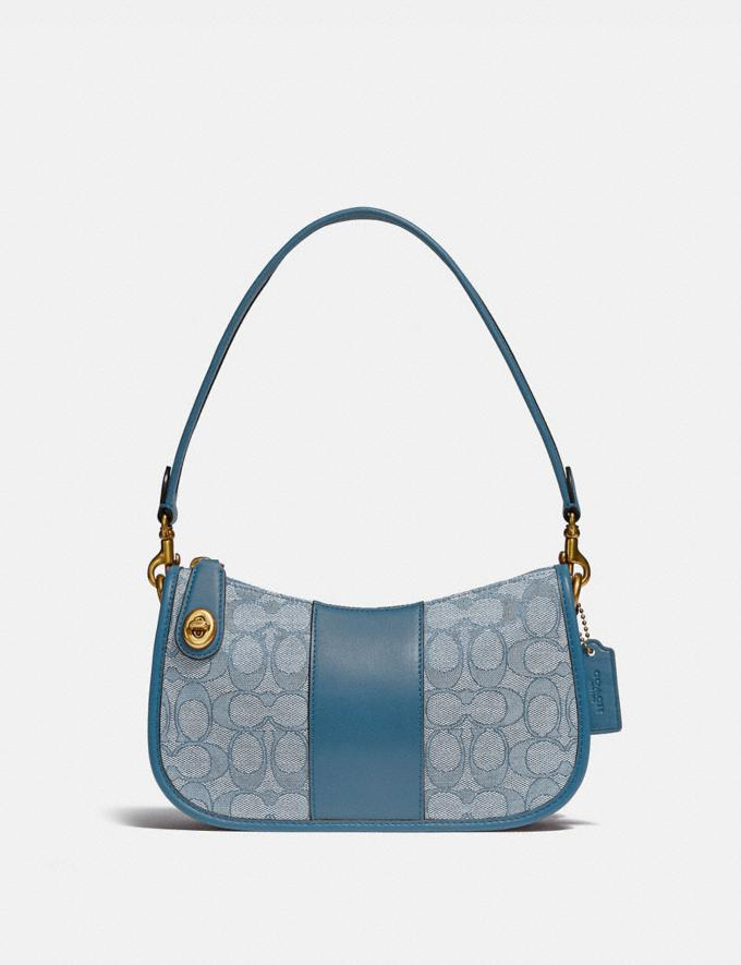 Coach Swinger Bag in Signature Jacquard Brass/Marble Blue Azure