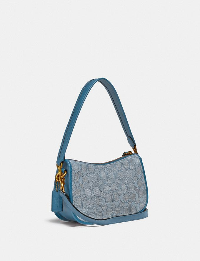 Coach Swinger Bag in Signature Jacquard Brass/Marble Blue Azure  Alternate View 1