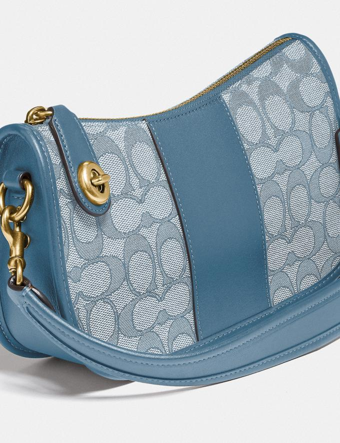 Coach Swinger Bag in Signature Jacquard Brass/Marble Blue Azure  Alternate View 4