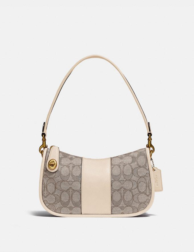 Coach Swinger Bag in Signature Jacquard Brass/Stone Ivory