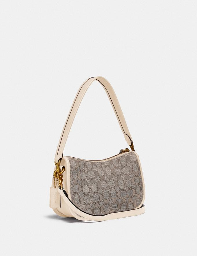 Coach Swinger Bag in Signature Jacquard Brass/Stone Ivory  Alternate View 1
