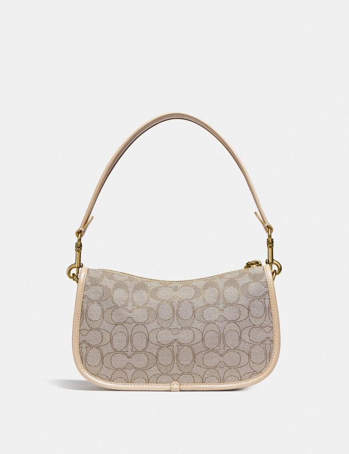 Coach Swinger Bag in Signature Jacquard Brass/Stone Ivory  Alternate View 2